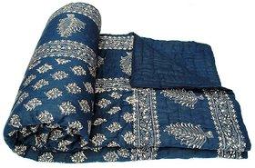 Krg Enterprises Jaipuri Handmade Sanganeri Print Ethnic Double Bed Quilt Rajai