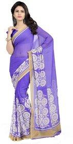 Vaamsi Purple Raw Silk Self Design Saree With Blouse