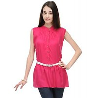 Klick2Style Plain pink Top with Belt For Women