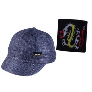 Jstarmart Jute Blue Cap With Wrist Band JSMFHCP0996