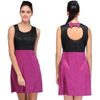 Klick Back Bow Style Dress Purple
