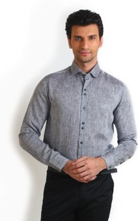 Teemper Grey Coloured Classic Mens Shirt