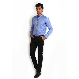 Teemper Blue Coloured Shirt With Piping Details At The Placket