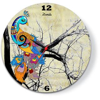 Peacock cream Glass Clock