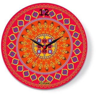 Colorfull peacock   Glass clock