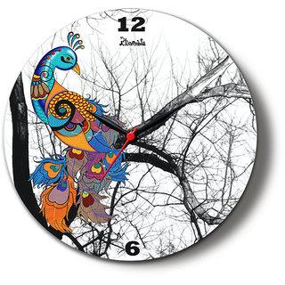 Kolorobia Ravishing Peacock Glass Clock