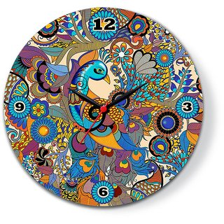Peacock Colorful Glass Clock