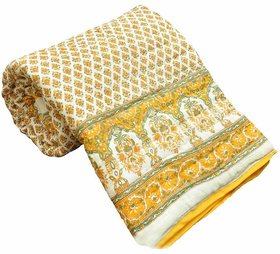 Pawan Textiles Yellow Cotton Printed Quilt And Cover