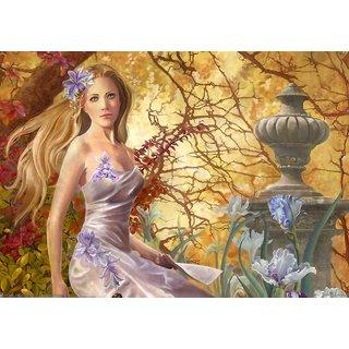 Mesleep Lady And Fountain Canvas