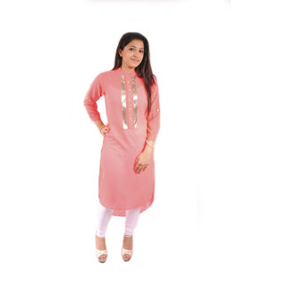 Natty India Georgette Band Neck Short And Long Pattern Kurti