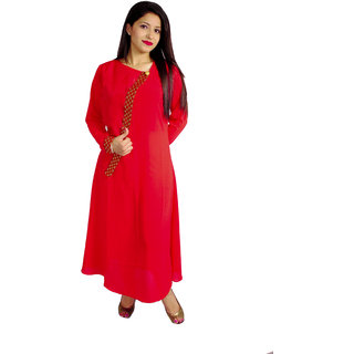 Natty India Georgette Angrakha Style Kurti Having Button On Uppar Front