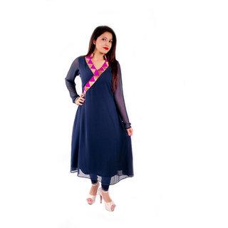 Natty India Georgette Band Neck Angrakha Style Kurti
