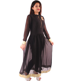 Natty India Georgette Band Neck Kurti Having Front Zipper And Full Gathers On Wist Line