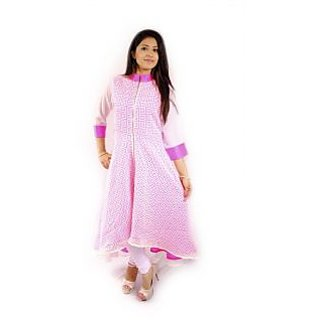 Natty India Self Printed Cotton Band Collar Short And Long Pattern Kurti And Also Zipper On Front