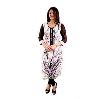 Natty India Cotton Printed Round Neck Front Long Placket Kurti And Also Buttons On It