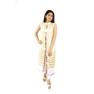 Natty India Self Print Georgette Band Neck Kurti Having Buttons On Centre FrontCentre Front And Bottom Area Embelished By Lace