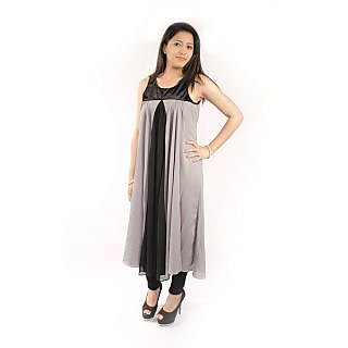 Natty India Georgette Round Neck Velvet Yoke Kurti  There Is Gathers On Centre Front With Centre Cut Also
