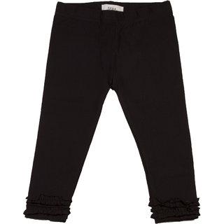 SERA GIRLS SOLID RUFFLE LEGGINGS Black