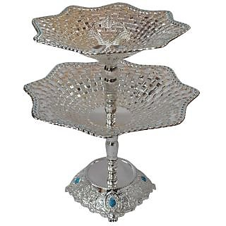 Layer Plate Flower Stand silver