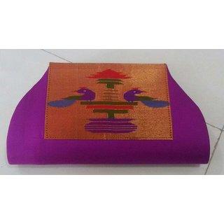 Pink and Brown Paithani Sarees Bag