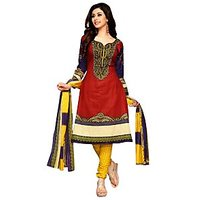 Drapes Purple And Maroon Cotton Embroidered Salwar Suit Dress Material (Unstitched)
