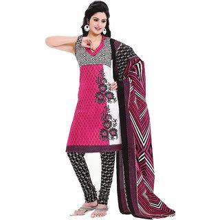 Smartindia Pink Reguler Cotton Dress Material