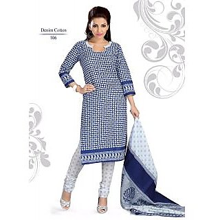 Soniya cottan duppata printed salwar kameez suit ( unstiched suits ) denim blue
