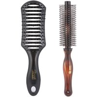Combo Of Mens Hair Brush & Anti-Bacteria Round Brush - By Roots