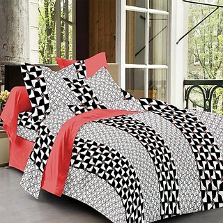 Always Plus Multicolor Contemporary Cotton Bedsheet (1 Double bedsheet With 2 Pillow Cover)with TC180