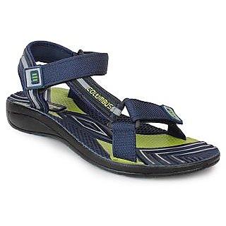 Columbus Men's Green & Blue Velcro Sandals