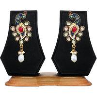 Peacock Pattern Earrings By Zaveri Pearls