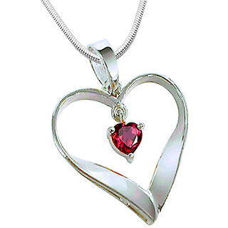 Surat Diamond Heart of Red - Real Red Ruby & 925 Silver Pendant with 18