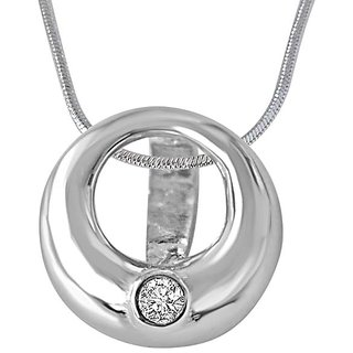Surat Diamond Silver Moon 925 Silver Real Diamond Pendant with 18