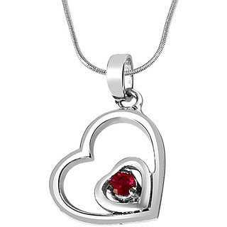Surat Diamond Treasures Of my Life Red Ruby & 925 Silver Pendant with 18