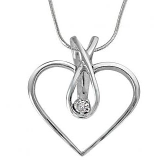 Surat Diamond Endless Love Real Diamond Pendant in 925 Silver With Silver Finished 18