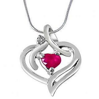 Surat Diamond Heart's Desire Real Diamond, Red Ruby & 925 Silver Pendant with 18