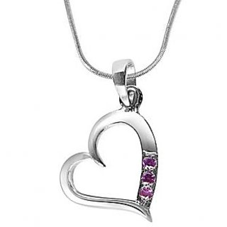Surat Diamond Simple way to my Heart Rhodolite and 925 Silver Pendant with 18