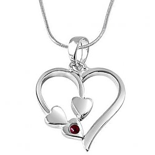 Surat Diamond Together Forever Red Ruby & 925 Silver Pendant with 18