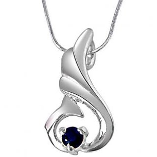 Surat Diamond Over The Hill Blue Sapphire & 925 Silver Pendant with 18