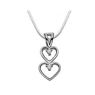 Surat Diamond Magical Heart - Real Diamond & 925 Silver Pendant with 18