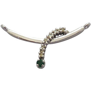 Surat Diamond Real Diamond & Emerald 925 Silver Chic Looking Pendant For Your Lady Love SDP100