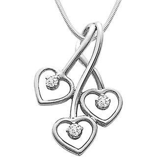 Surat Diamond Triple Heart Delight - Real Diamond & 925 Silver Pendant with 18
