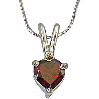 Surat Diamond Diamond & Heart Shape Garnet in 925 Silver Pendant with 18 Chain for Your Love