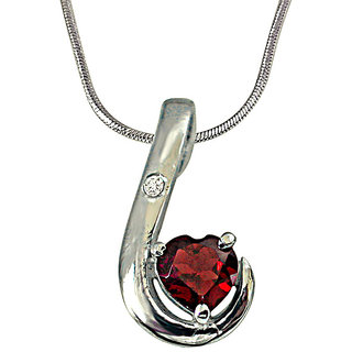Surat Diamond Lovy Dovy Heart Shape Garnet and Diamond 925 Silver Pendant with 18