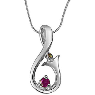 Surat Diamond Magic Carpet Ride Real Diamond, Ruby & 925 Silver Pendant with 18