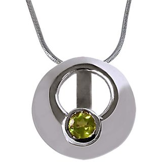Surat Diamond Sparkling  Circle - Green Peridot 925 925 Silver Pendant with 18
