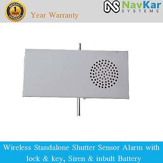 Wireless Standalone Shutter Sensor Alarm with Lock  Key, Siren  Battery