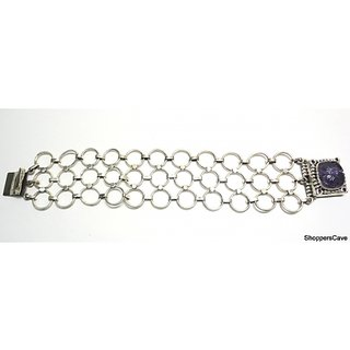Shoppers Cave Designer Sterling Silver Bracelet Setted With Amethyst Stone