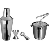 5 Pcs Beginners Bar Set - Ice Bucket, Small Bottle Opener, Regular Cocktail Shaker, Peg Measure, Ice Tong
