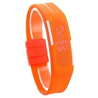 Ultra Slim LED Watch - LED Display With Silicon Strap--ORANGE COLOUR